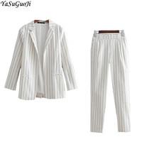 YSGJ new 2018 autumn fashion black and white striped suit women linen thin ladies suits ankle length pant suits tailleur femme