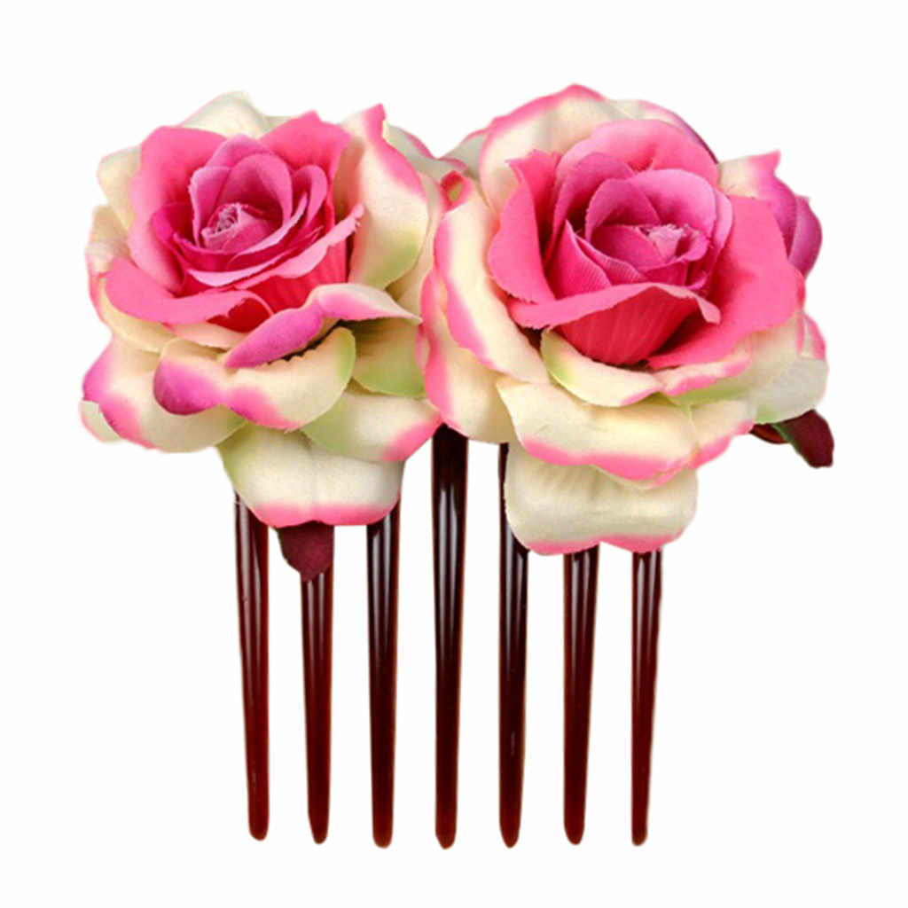 Elegante Rosso Rosa Dei Capelli Del Fiore Pettine Spilli Fatti A Mano Accessori Per Capelli Per La Sposa Delle Donne Dei Monili di Promenade di Cerimonia Nuziale Copricapo 2019 nuovo
