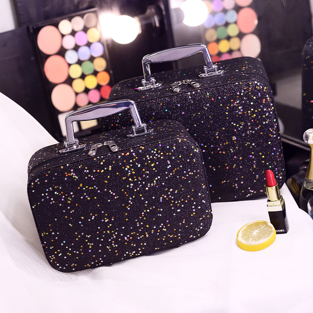 Korean Large Capacity portable Cosmetic Bags Box Jewelry Display Case Travel Wash Makeup Bag Bigs size & Small size Beauty Case