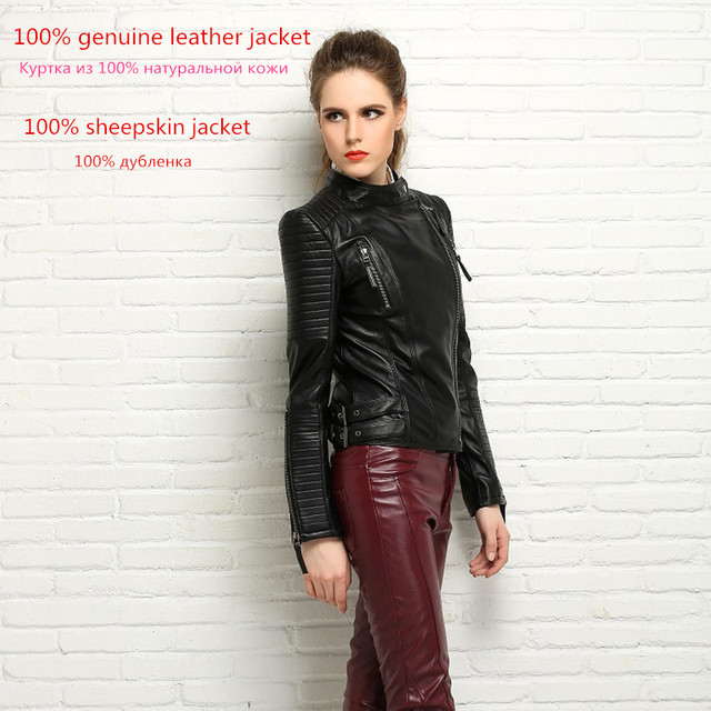100% Real Sheepskin Coat Female Genuine Leather Jacket Short Slim Jackets For Women Outerwear 2