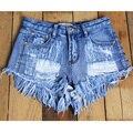 Mulheres Shorts Jeans Femme 2016 Moda Verão Cintura Alta Shorts Jeans Mulheres Quentes Borla Rebite Shorts Jeans Magros Do Sexo Feminino