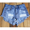 Women Denim Shorts Femme 2016 Summer Fashion High Waist Denim Shorts Women Hot Tassel Rivet Slim Sex Shorts Jeans Female