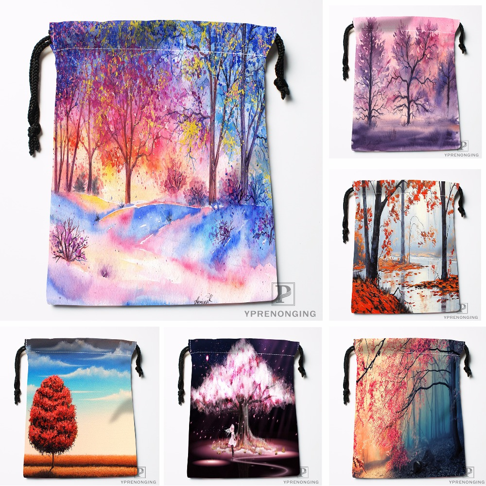 Custom Pink Landscape Painting Drawstring Bags Printing Travel Storage Mini Pouch Swim Hiking Toy Bag Size 18x22cm#180412-11-30