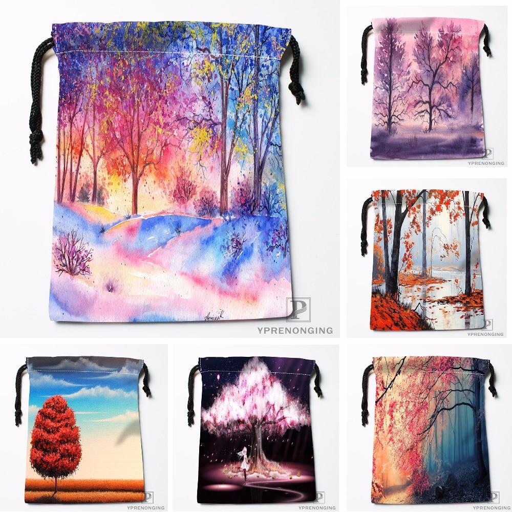 Custom Pink Landscape Painting Drawstring Bags Printing Travel Storage Mini Pouch Swim Hiking Toy Bag Size 18x22cm#180412-11-30