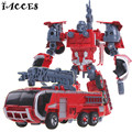 Kid Toys 5 in 1 Combiner Big Size  Toy Deformation Robot Car Defensor Action Figure Fire Engineering Truck Motorcycle Gift