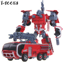 Kid Toys 5 in 1 Combiner Big Size Toy Deformation Robot Car Defensor Action Figure Fire