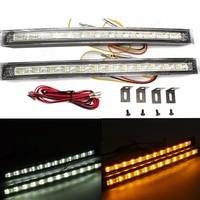 2Pcs LED Strip Bar Light Car White Amber Daytime Running DRL Driving Turn Signal Indicator Light