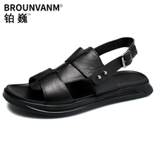 купить Genuine Leather Sandals Man Summer casual beach shoes anti-skid soft bottom mens Roman slippers mens gladiator sandals summer дешево