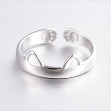 Silver Plated Cat Ear Ring Design Cute Fashion Jewelry Cat Ring For Women Young Girl Child Gifts Adjustable Anel Wholesale
