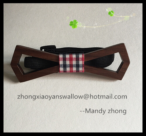 Free Shipping Free Shipping walnut wood bow tie with Swallow gird print fabric, 100% hand made Bow Tie,Neck Tie