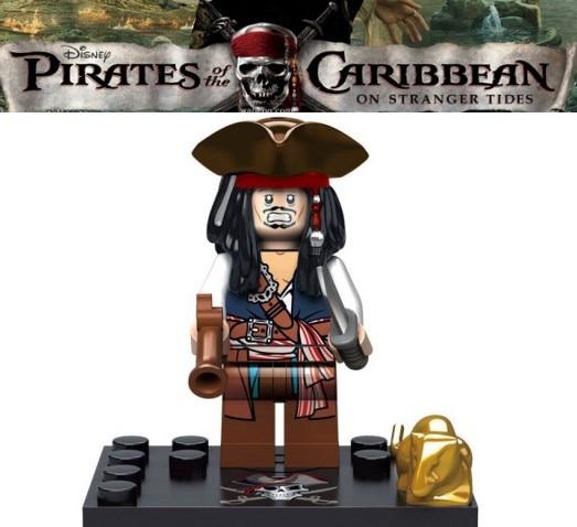 Captain Pirates of The Caribbean Jack Sparrow Elizabeth Mermaid David building blocks models bricks toys for children kit