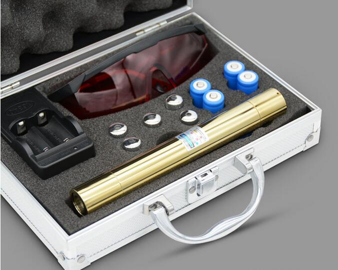 Blue Laser Pointer High Power Laser Pen 450nm Burn Match Cigarettes Candle with 5 Star Caps for Hunting+Metal Box newest hight quality 450nm blue light laser pointer pen power beam 5 heads with charger with goggles with box
