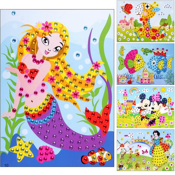 3D DIY Puzzle Toys Colors Crystal Diamonds Foam Mosaics Sticky Art Cartoon Game Craft Art Sticker Kids Education Toys Graffiti(China)
