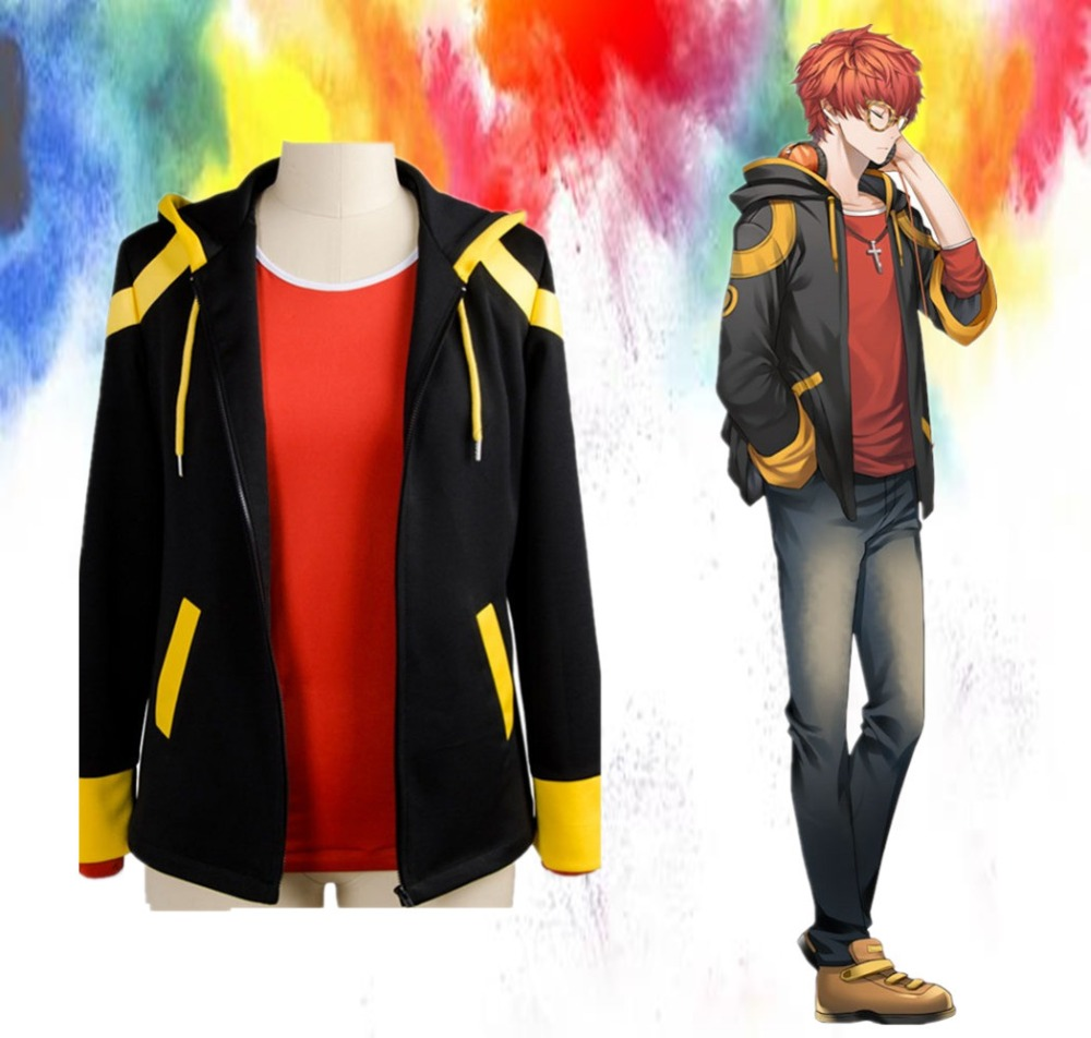New Anime Mystic Messenger Cosplay Costume 707 Saeyoung Luciel Choi Outfit Halloween Costumes Hooded Jacket Hoodies Coat T-shirt