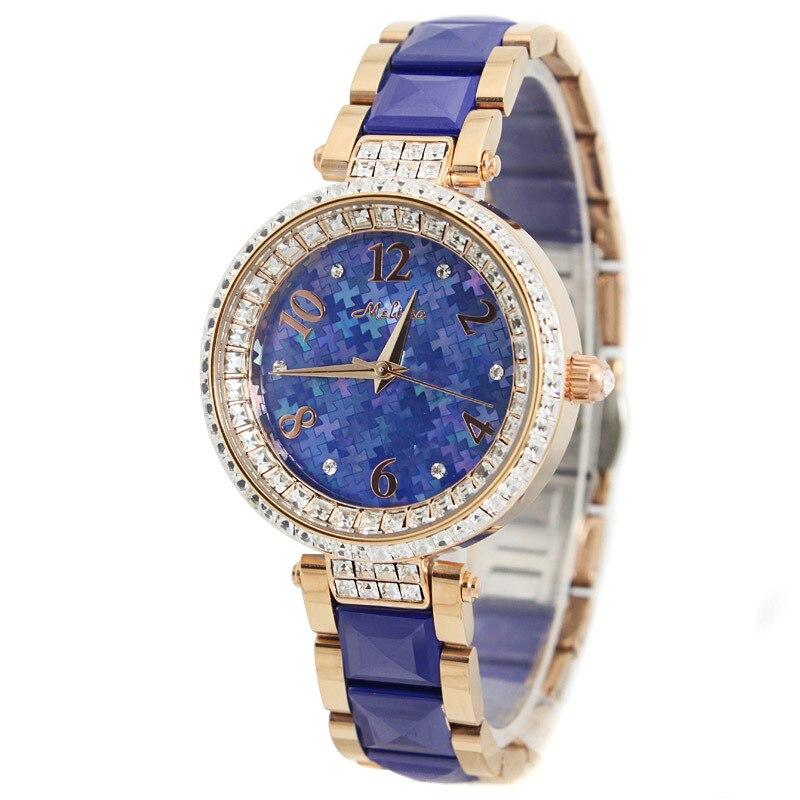 Melissa Lady Wrist Watch Woman Hours Quartz Top Fashion Dress Ceramic Bracelet Shell Jigsaw Luxury Rhinestones