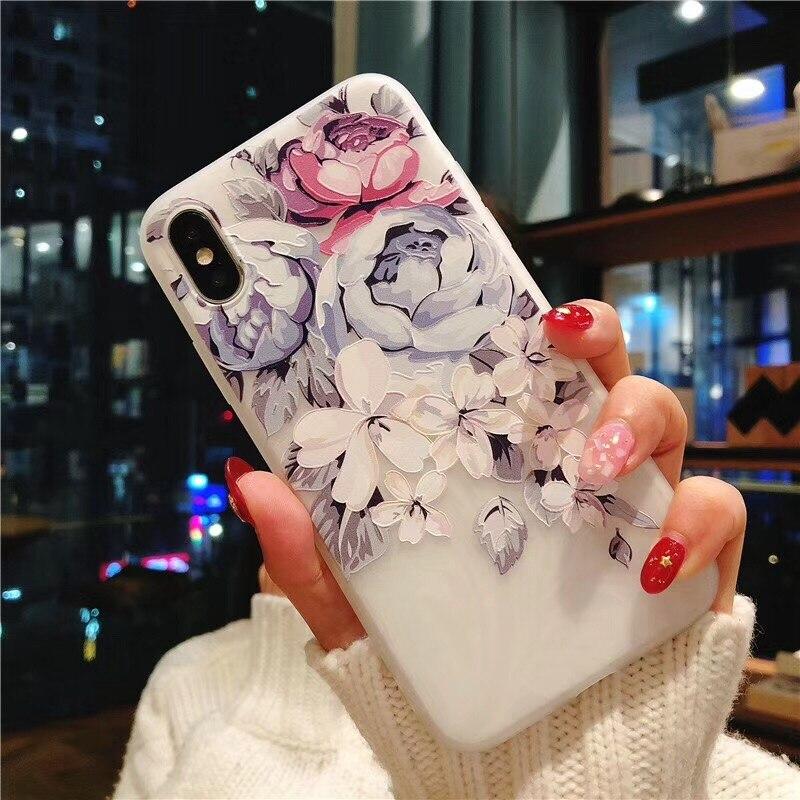 TPU Case For Xiaomi Mi A1 A2 Mi8 Lite Mi 9T Case Redmi 5A 6A 7A Note 5 6 7 S2 Go K20 Pro Silicone 3D Relief Flower Soft Cover