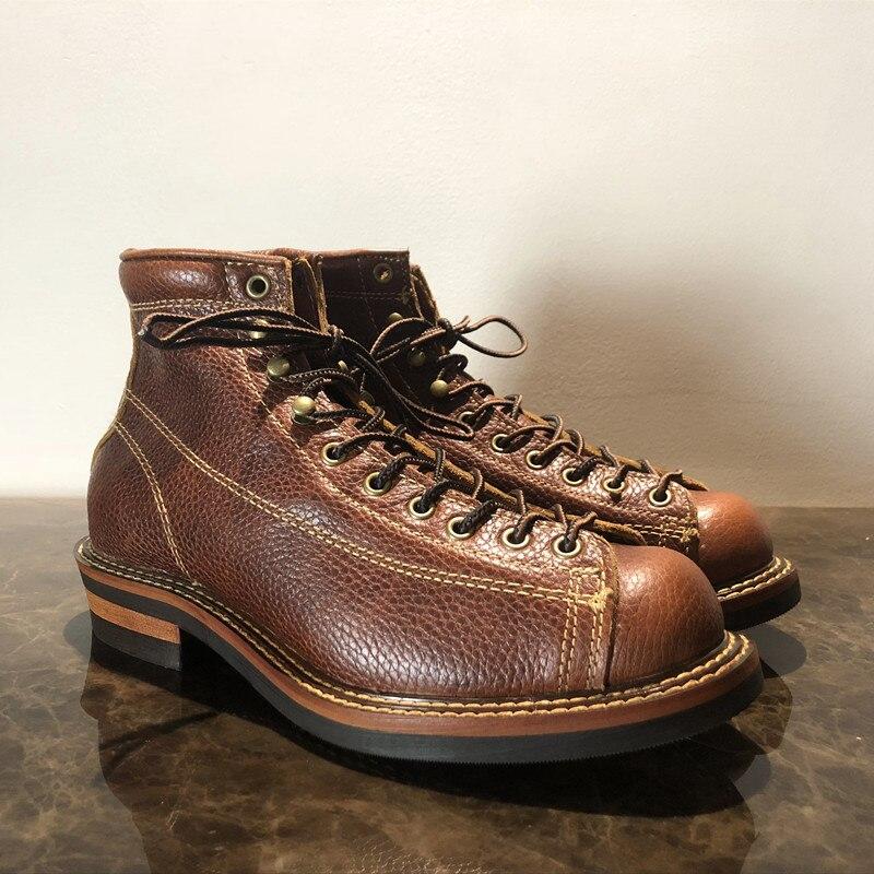 Męskie wiosna zimowe buty okrągłe Toe najwyższej jakości rocznika prawdziwa skóra skóry wołowej kostki buty na co dzień buty motocyklowe Unisex duży rozmiar w Buty motocyklowe od Buty na  Grupa 1