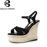 BONJOMARISA Women S High Heel Wedge Summer Shoes Woman 2018 New Ankle Strap Open Toe Platform