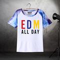 2017 New Stain Fashion Style Short Sleeved Couple's DJ T Shirt EDM ALL DAY Printing -199