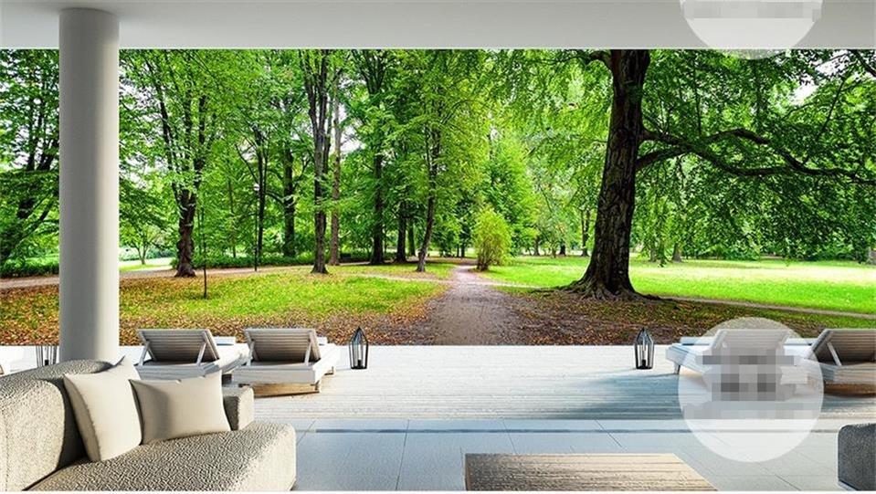 Custom 3d Photo Wallpaper Room Mural Green Forest Tree Huge 3d Photo Room  Sofa TV Background