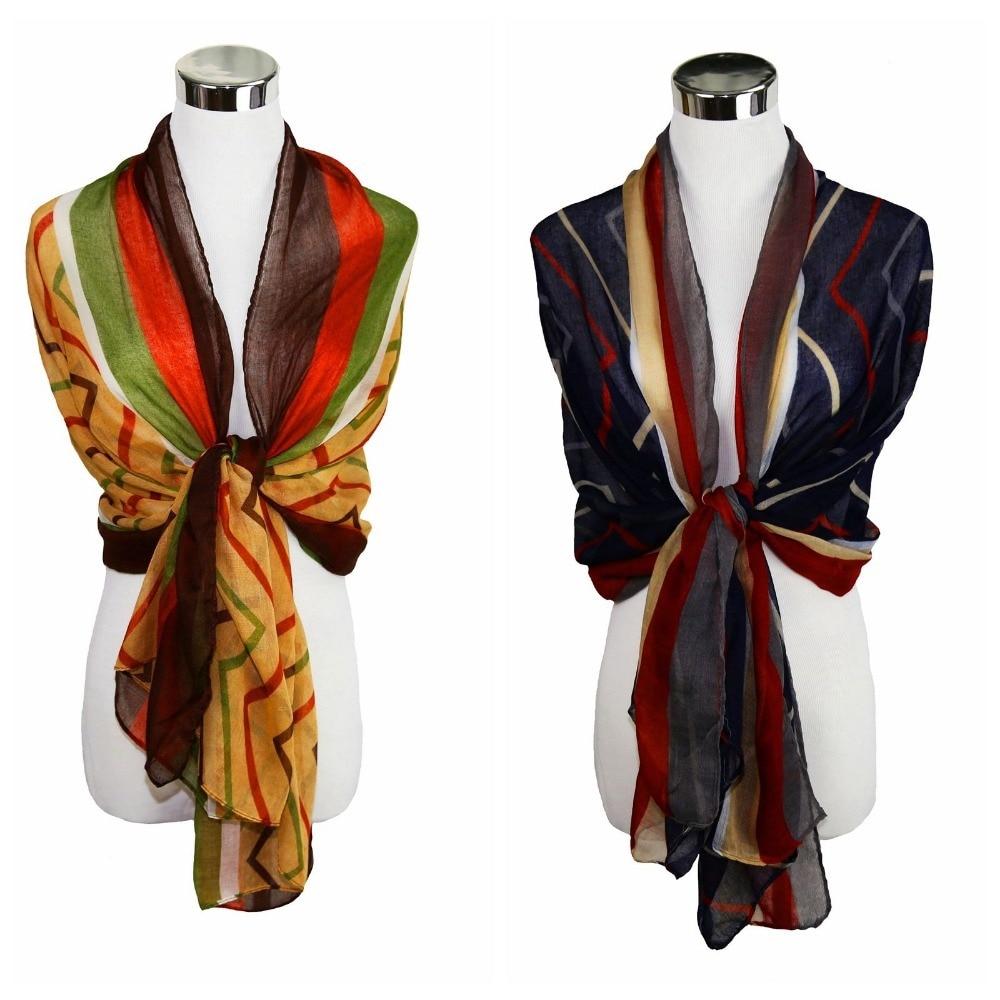 Stripe tendencia suave fina larga del mantón del abrigo de la ...
