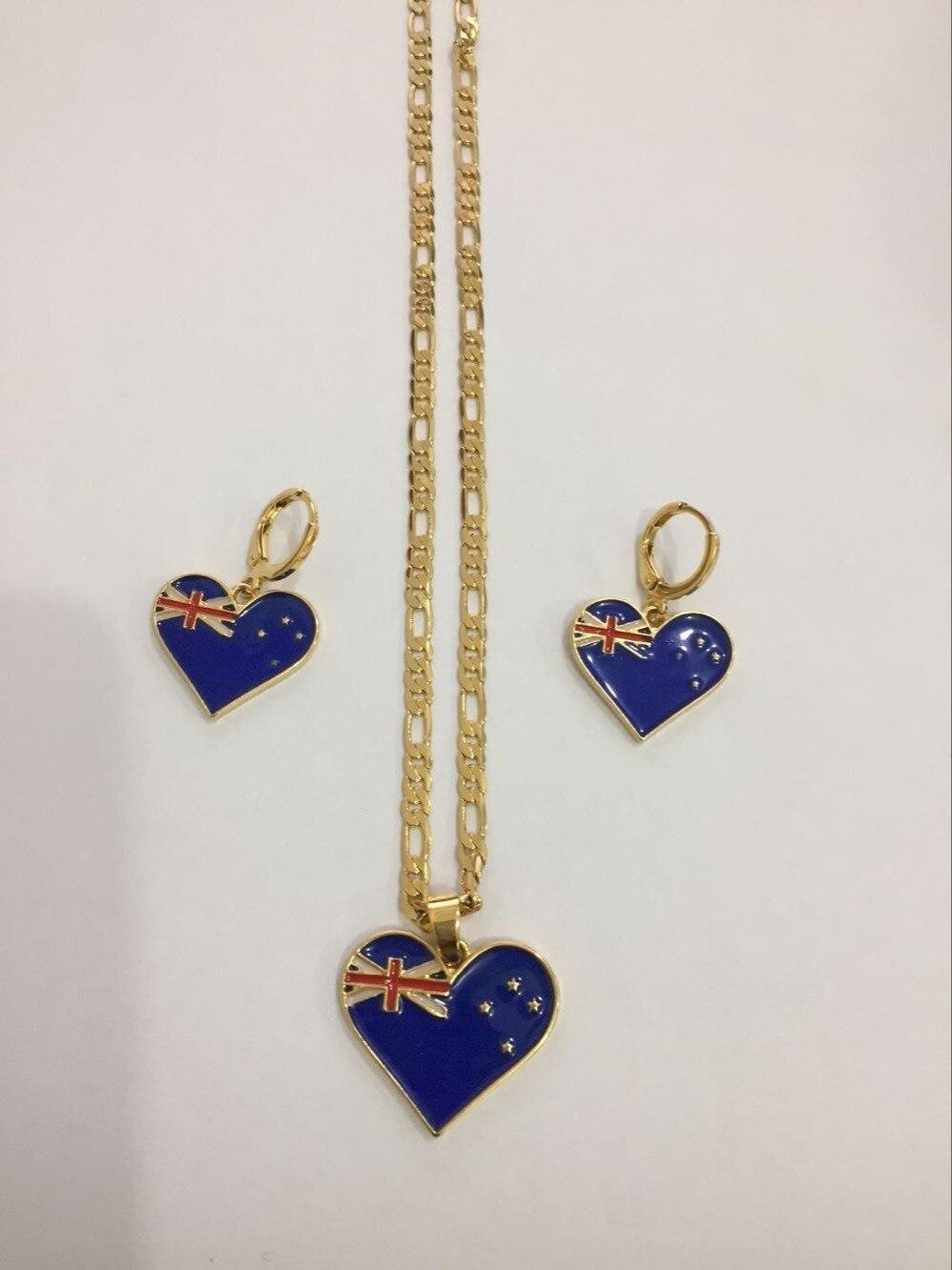 PNG Nouvelle-Zélande Jamaïque Guyana Drapeau boucles d'oreilles Collier Pendentif Chaîne Or Coeur Phoenix Étoiles Jewely ensembles cadeau pour femmes filles