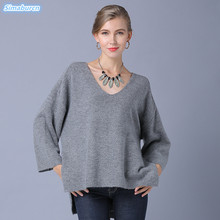 New Arrivals Autumn Winter Women Knitted Long Sleeve Sweaters Female Pullovers Casual Black Gray Khaki Loose