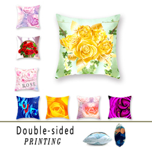 American Country Series Double-sided Polyester Decorative Throw Pillowcase Rose Pattern Yellow Pillow Sofa Cushion Cover