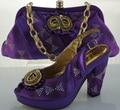 Zapatos Y Bolso A Juego de Color púrpura Zapatos de Las Mujeres Italianas Y Sistemas del bolso Elegante Mujeres Zapatos A Juego Italiano Y Juego de Bolsa ME2202