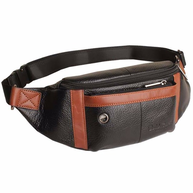 Fanny Paquete de La Cintura del Zurriago del Cuero genuino Hombres Monedero Celular/Teléfono Móvil Caso Hip Cinturón Bolsas de Mensajero Ocasional de Moda Del Hombro bolsa