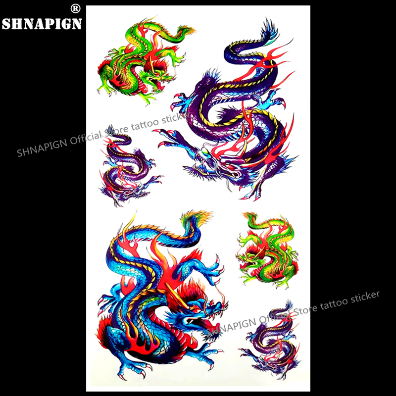 SHNAPIGN Color Chinese Dragon Temporary Tattoo Body Art Arm Flash Tattoo Stickers 17*10cm Waterproof Fake Henna Painless Sticker