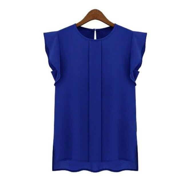 8ac82cf3991ed إمرأة بلوزات الشيفون ملابس الصيف سيدة بلوزة xl بيع جديد 2016 الأزياء كشكش  قصيرة الأكمام