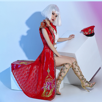 GAGA's unique lace patchwork faux leather multicolor rivet trench coat party nightclub bar concert DJ singer/dancer costume