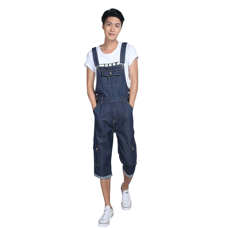 Summer Preppy Style Fashion Casual Mens Denim Overalls Jumpsuit , Male Stylish Unique Jeans Jumpsuits Bib Pants For Men Size 5XL 2017 spring autumn fashion mens slim jean overalls casual bib jeans for men male ripped denim jumpsuit suspenders bibs