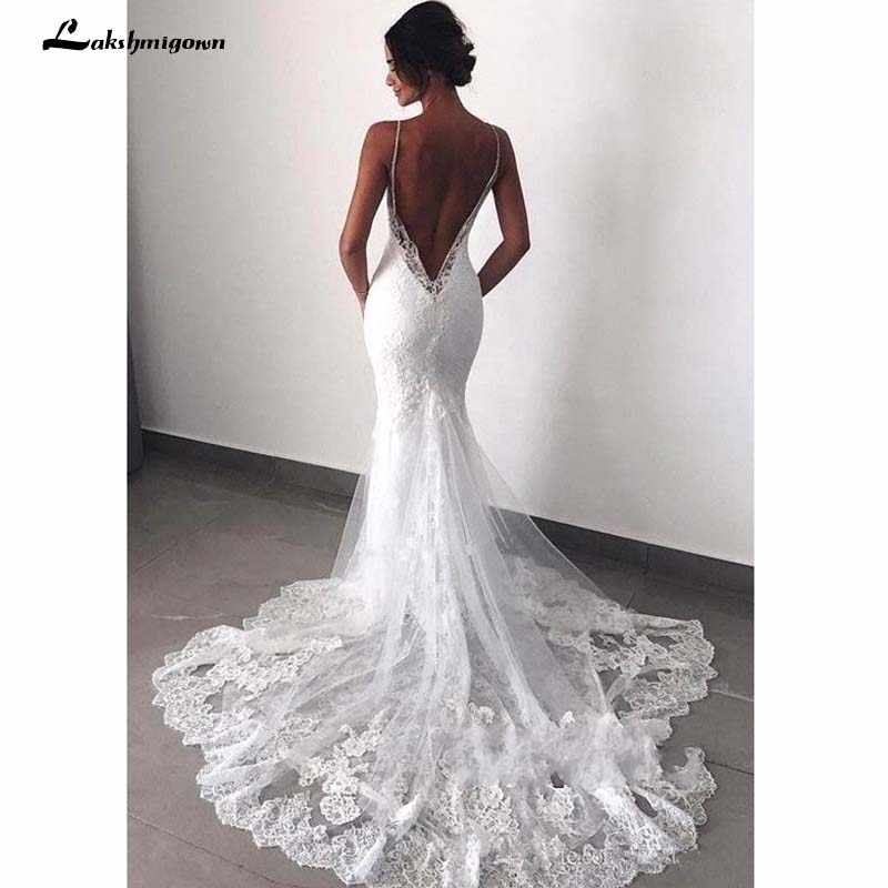Sexy Backless Lace beach Wedding Dresses 2019 Spaghetti Straps Mermaid Lace Appliqued Boho Bridal Gowns robe de mariee