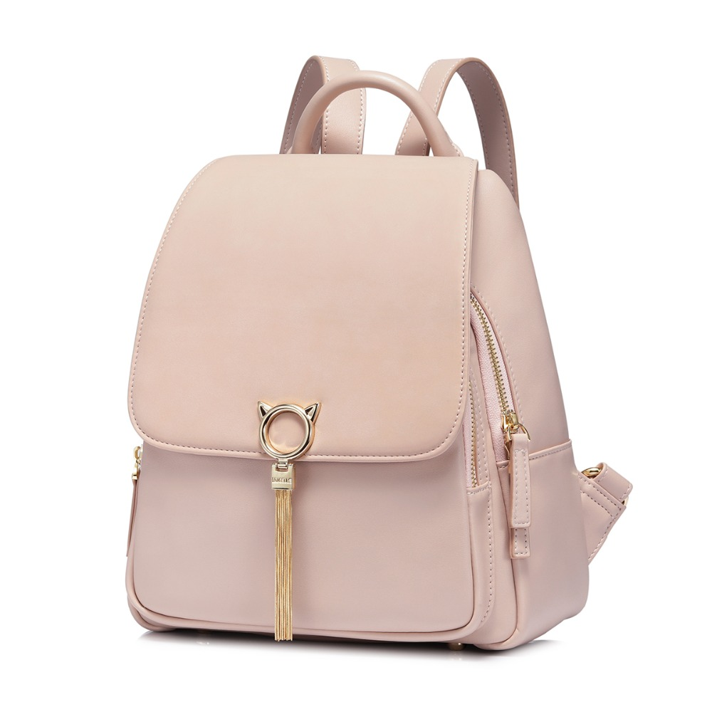 7dbb3251df8d NUCELLE Women s PU Leather Backpack Ladies Fashion Cat Ear Tassel Double Shoulder  Bags Female Elegant All match Travel Backpack-in Backpacks from Luggage ...