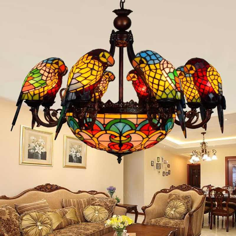 все цены на Colorful Glass Parrot Pendant Chandelier Creative Luxury Bar Club Living Room Lobby Bedroom Lamp онлайн