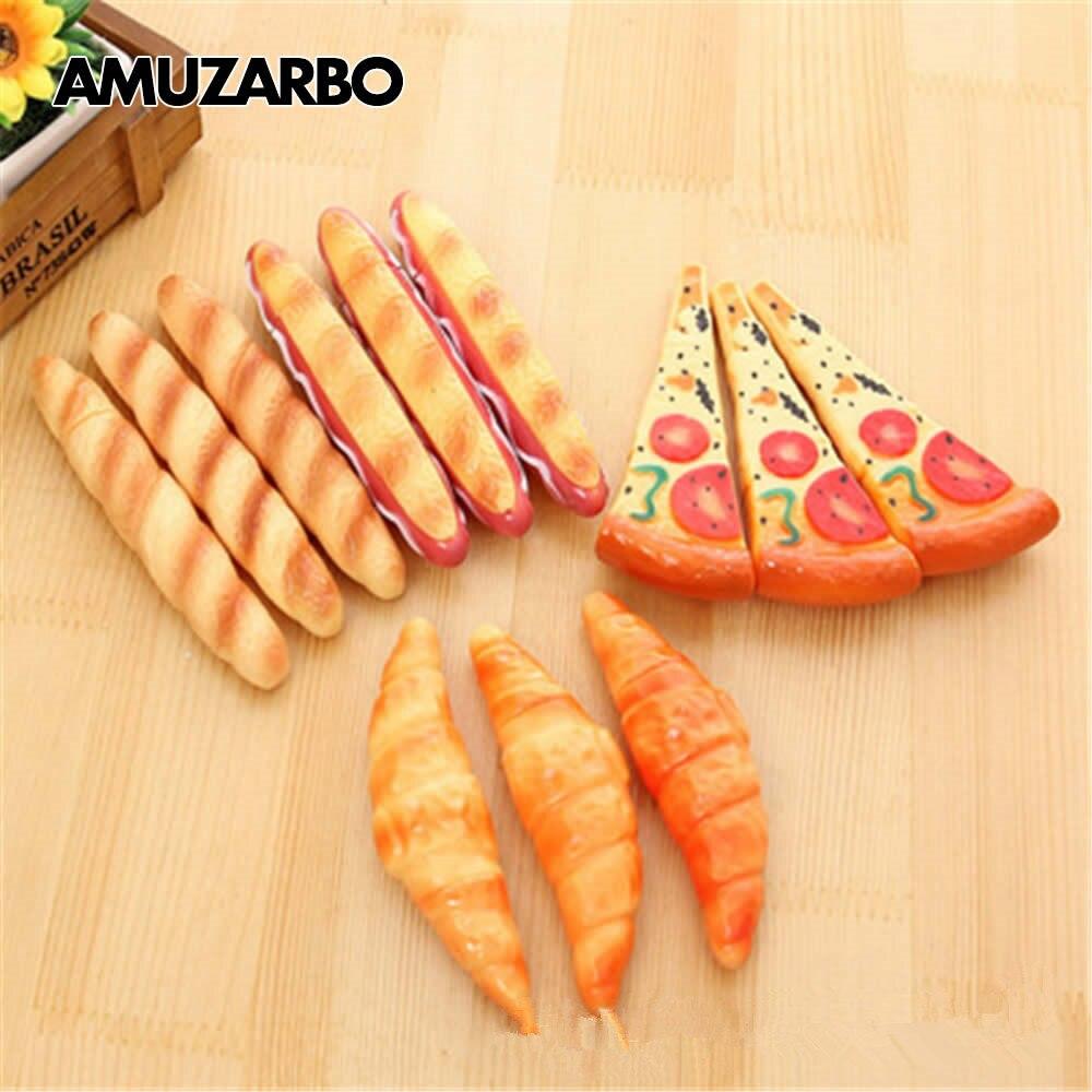 Cute Fast Food Ballpoint Pen Pizza Hot Dog Bread Croissant Bag Ballpoint Pen Refrigerator Magnet Pad Pen School Office Supplies