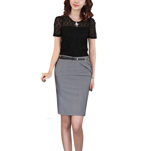 1bede7e890 Autumn Summer Career Short Formal Skirts Ladies Sexy High Waist Pencil Skirt  4 Colors Plus Size Women Skirt