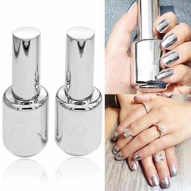2 Botellas 15 ml plata espejo efecto Esmaltes de uñas + barniz ...