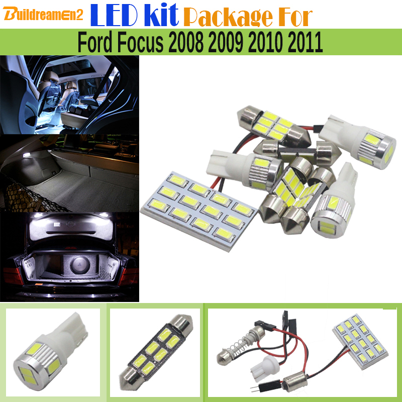 Buildreamen2 Car 5630 Chip LED Bulb White Interior LED Kit Package Map Dome Trunk License Plate Light For Ford Focus 2008-2011 13pcs canbus car led light bulbs interior package kit for 2006 2010 jeep commander map dome trunk license plate lamp white