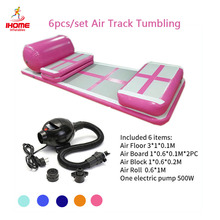 6pcs/set PVC Air Track Gymnastics Wear-resistant Inflatable inflatable Bouncer Trampoline with Pump for Home/Training/Beach Use