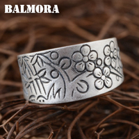 BALMORA Solid 990 Pure Silver Plum Flower Rings For Women Lover Gift Retro Lovely Ring Thai