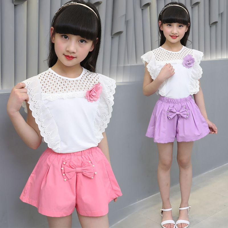 Girl 39 s summer cotton two piece set little girl 39 s summer short sleeved T shirt Korean shorts in Clothing Sets from Mother amp Kids