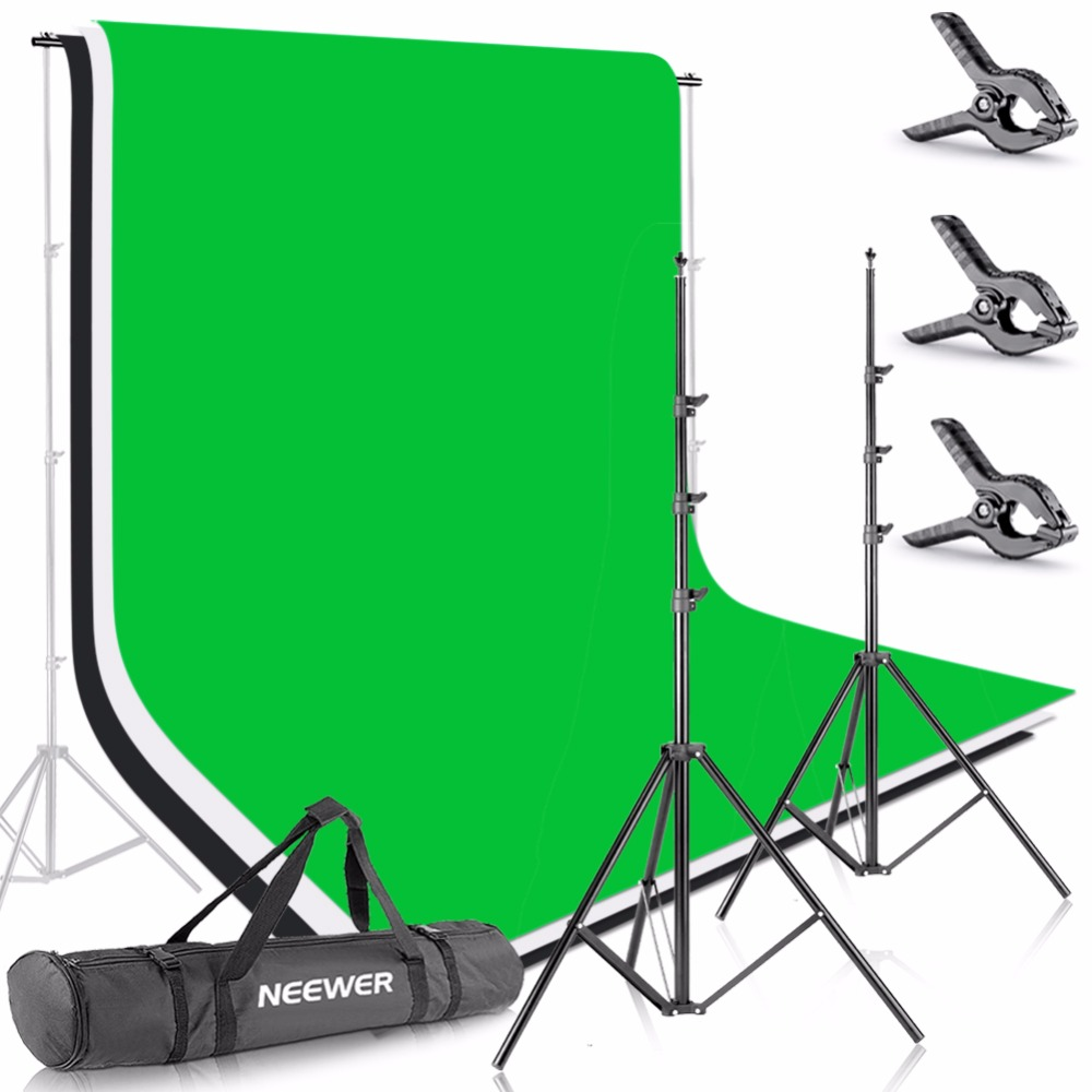 Neewer 2.6M X 3M Background Stand Support System w/1.8M X 2.8M Backdrop(White,Black,Green) for Portrait,Product Photography lightdow 2x3m 6 6ftx9 8ft adjustable backdrop stand crossbar kit set photography background support system for muslins backdrops
