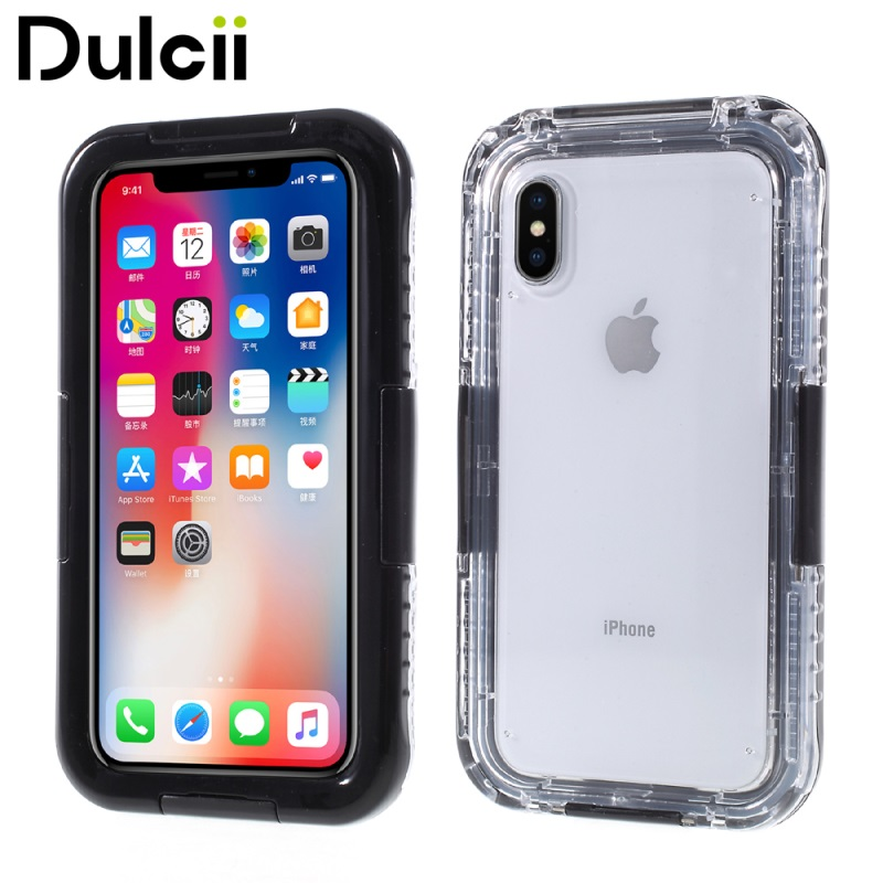 DULCII Waterproof Case for iPhone X Case IP68 Snow-proof Dirt-proof Phone Cover Funda for Apple iPhone X / Ten Shells Bag