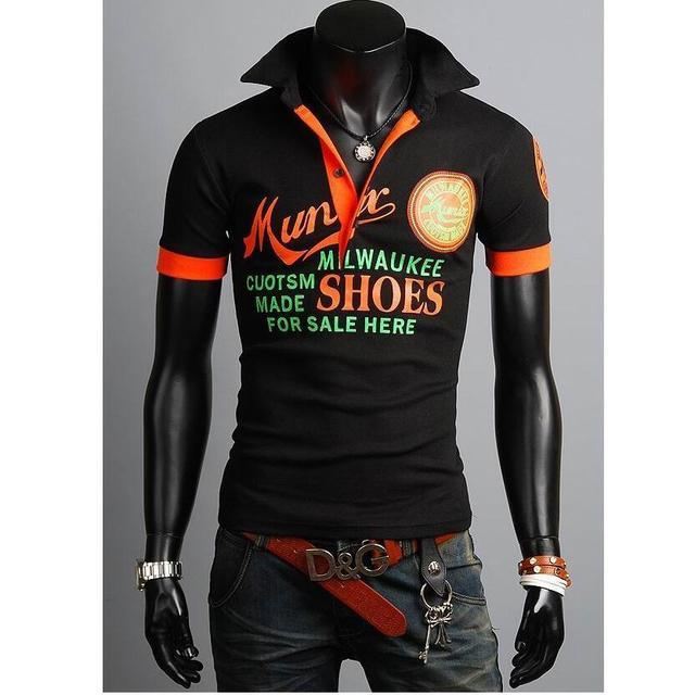 2016 летом горячей марка мужчины новый рубашки поло роскошные свободного покроя тонкой коротким рукавом письмо печать Высокое качество дизайн топы Homme
