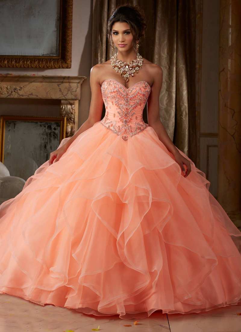 Us 16796 48 Offcoral Quinceanera Dress Ball Gown Rhinestones Beading Ruffle Organza Beautiful Sweet 16 Dress Vestidos 15 Anos 2018 In Dresses From