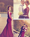 Pretty Sheer Burgundy Mermaid Evening Dress Long Sleeve Sweetheart Formal Dresses Women Satin Backless Party Evening Gowns PE47