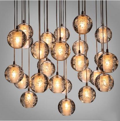 Modern brief little bubble ball glass Chandeliers Personalized Art restaurant crystal chandeliers light G4 bulb lamp  little kids fubbles bubble machine